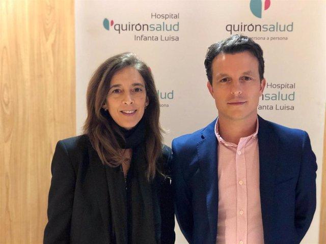 Los neumólogos Lucía Díaz Cañaveral y Demetrio González Vergara, que han protagonizado este viernes la II Escuela de Pacientes de Neumología de los hospitales Quirónsalud en Sevilla.
