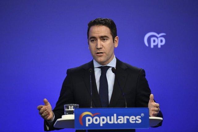 El secretario general del Partido Popular, Teodoro García Egea, durante la rueda de prensa tras la reunión del Comité de Dirección del Partido Popular en la sede nacional del PP, en Madrid (España), a 19 de noviembre de 2019.