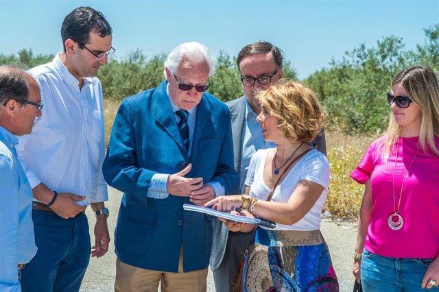 Dirigentes populares del Aljarafe con el viceconsejero de Fomento, Jaime Raynaud