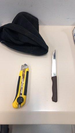 Material intervingut en l'home que ha amenaçat vianants a Palma
