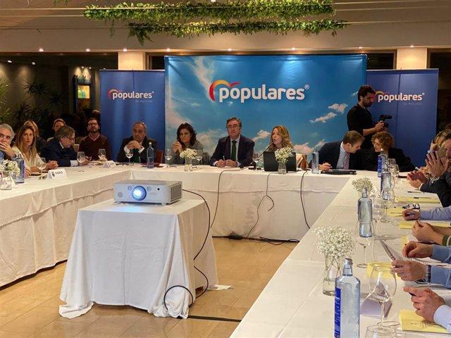 Reunión del Grupo Parlamentario Popular del Principado con otros grupos municipales del PP en Gijón