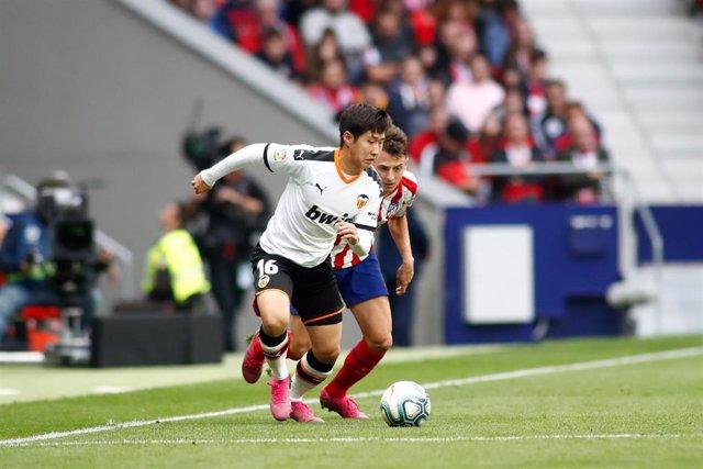Kang In Lee, en un partido con el Valencia CF.