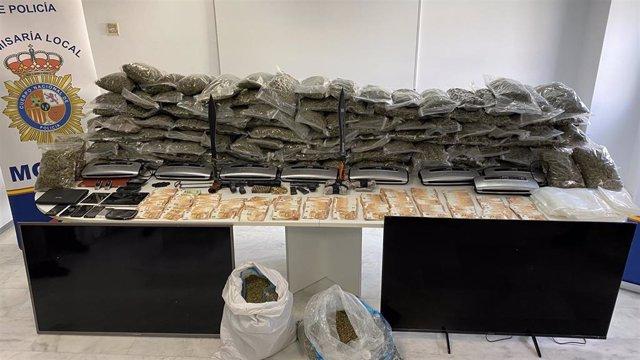 Marihuana y otros efectos intervenidos en la operación por la Policía Nacional