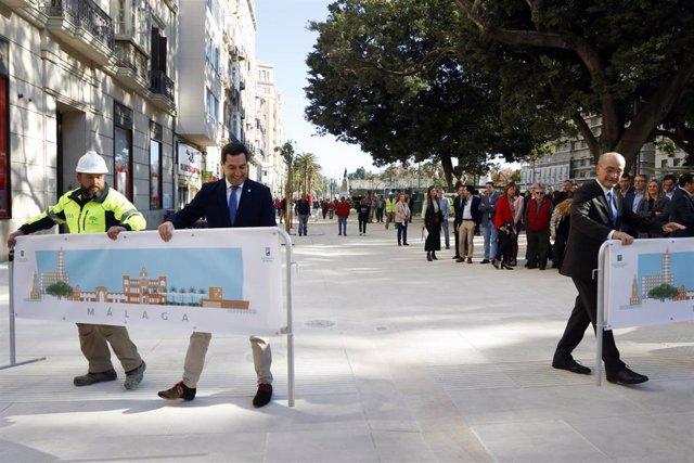El presidente de la Junta de Andalucía, Juanma Moreno, y el alcalde de Málaga, Francisco de la Torre, inauguran nuevas zonas peatonales en Alameda Principal tras la finalización de las obras del metro.