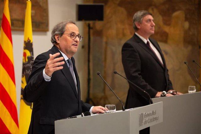 Comparecencia del presidente de la Generalitat, Quim Torra, y el presidente de Flandes, Jan Jambon.