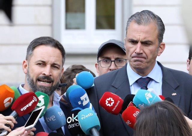 Santiago Abascal y Javier Ortega Smith, presidente y secretario general de Vox, valorando la sentencia del procés