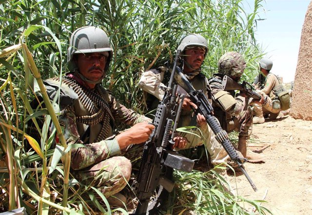 Militares afganos en Marya (Helmand)