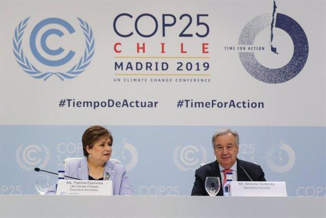 El secretario general de Naciones Unidas, António Guterres, en rueda de prensa en la COP25 en Madrid