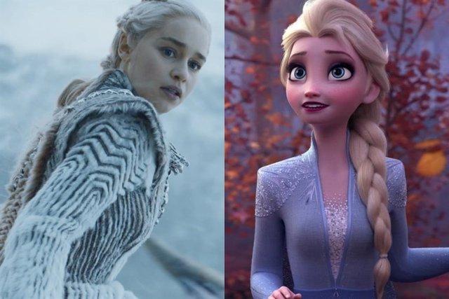 Emilia Clarke en Juego de tronos y Elsa de Frozen