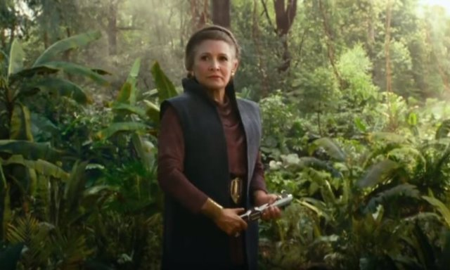 Carrie Fisher como Leia en Star Wars: El ascenso de Skywalker