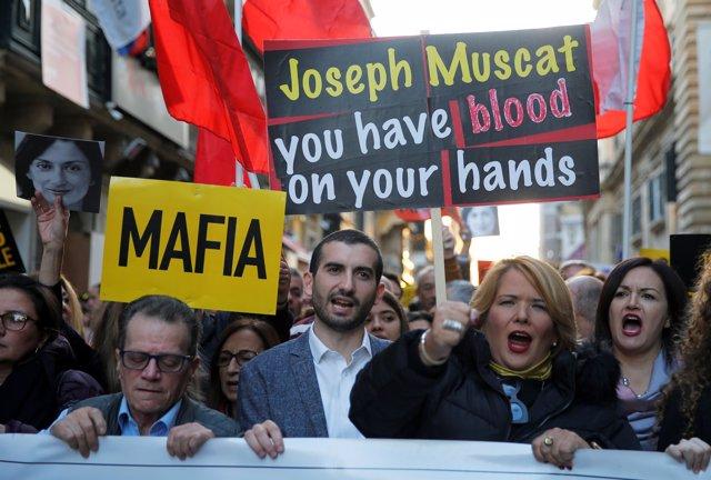 Manifestación en La Valeta contra Joseph Muscat y en recuerdo de la periodista Daphne Caruana Galizia