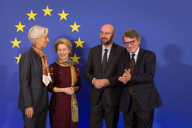 Christine Lagarde, Ursula Von der Leyen, Charles Michel y David Sassoli