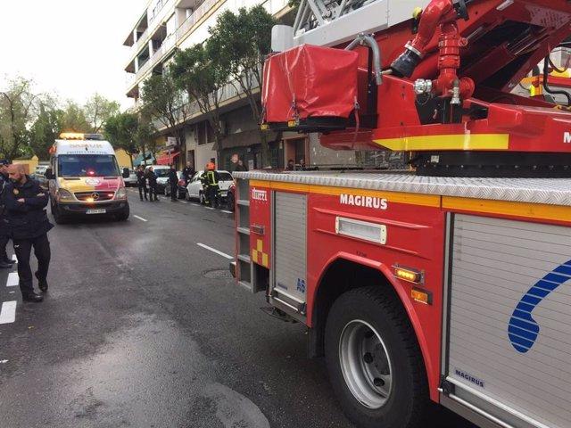 Intervención de Bomberos del Ayuntamiento de Madrid en un incendio en Madrid