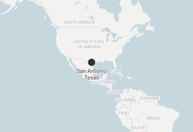 Imagen de San Antonio Texas. Estados Unidos) en el mapa