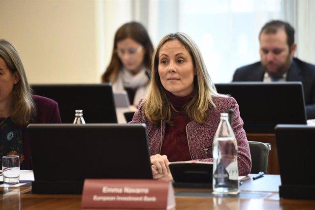 La vicepresidenta del Banco Europeo de Inversiones (BEI), Emma Navarro, durante la inauguración de la conferencia conjunta del Banco de España y el BEI, en Madrid (España).