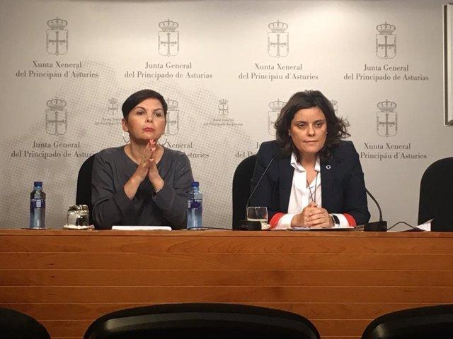 La representante del Simpa, Rocío Fernández, y la diputada del PP Beatriz Polledo