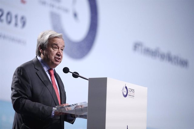 El presidente de la ONU, António Guterres, durante su intervención en la ceremonia inaugural de la Conferencia de Naciones Unidas sobre el Cambio Climático (COP25), en Madrid (España), a 2 de diciembre de 2019.