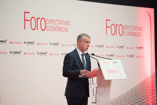 El Lehendakari, Iñigo Urkullu, en el Foro Expectativas económicas en Bilbao
