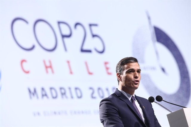 El presidente del Gobierno en funciones, Pedro Sánchez, durante su intervención en la ceremonia de inauguración de la Conferencia de Naciones Unidas sobre el Cambio Climático (COP25), en Madrid (España), a 2 de diciembre de 2019.