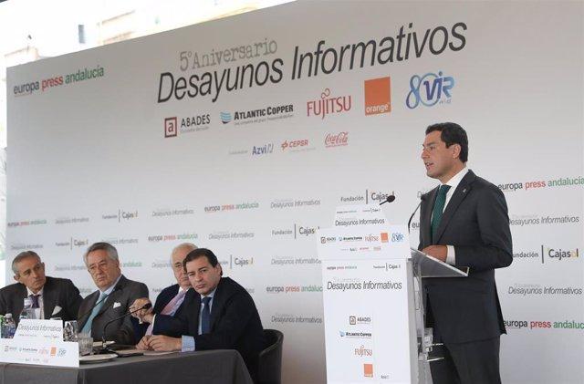 El presidente de la Junta de Andalucía, Juanma Moreno, ha participado en los Desayunos de Europa Press Andalucía