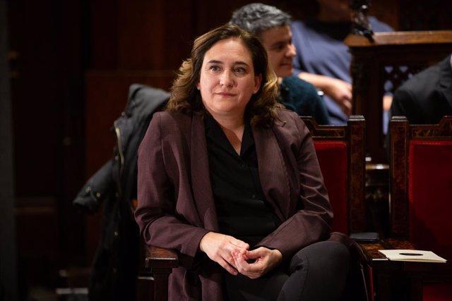 L'alcaldessa de Barcelona, Ada Colau, durant l'acte de lliurament de les Medalles d'Honor de la ciutat de Barcelona, Barcelona (Catalunya/Espanya), 26 de novembre del 2019.