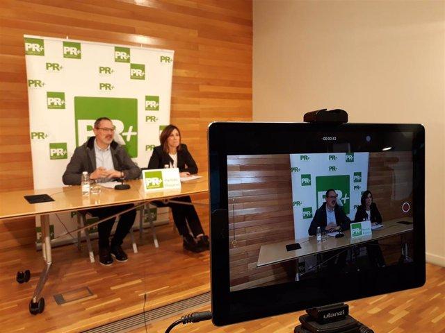 El presidente y la portavoz del PR+, Rubén Antoñanzas y Raquel Cabrera, en comparecencia de prensa donde han analizado los PGR 2020