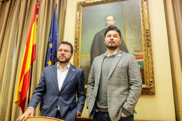 El coordinador nacional d'ERC i vicepresident del Govern, Pere Aragonés i el diputat d'ERC al Congrés dels Diputats, Gabriel Rufián, Madrid (Espanya), 2 de desembre del 2019.
