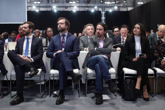 (I-D) El presidente del PP, Pablo Casado; el portazo de VOX en el Congreso, Iván Espinosa de los Monteros; el secretario general de Unidas Podemos, Pablo Iglesias y la portavoz de Ciudadanos en el Congreso, Inés Arrimadas.