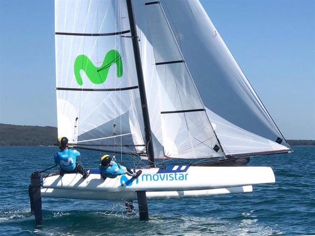 Iker Martínez y Olga Maslivets entrenando en aguas de Auckland