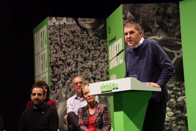 El coordinador de EH Bildu, Arnaldo Otegi, en un acto