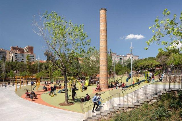 Un parque en Barcelona.