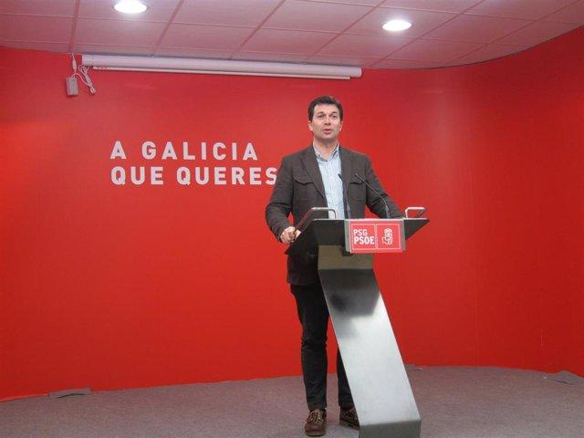 O secretario xeral do PSdeG, Gonzalo Caballero, na reuda de prensa