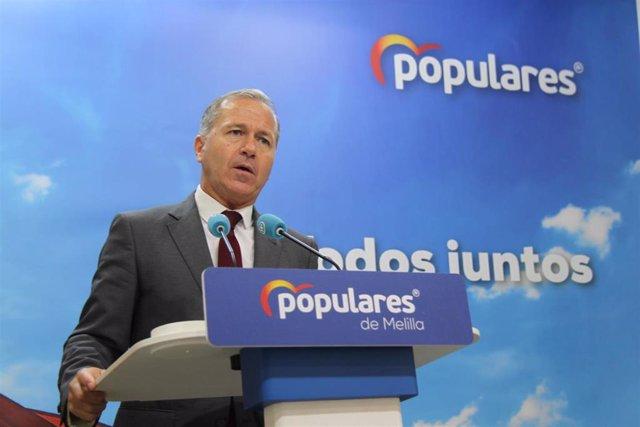 Rueda de prensa del secretario general del PP de Melilla, Miguel Marín