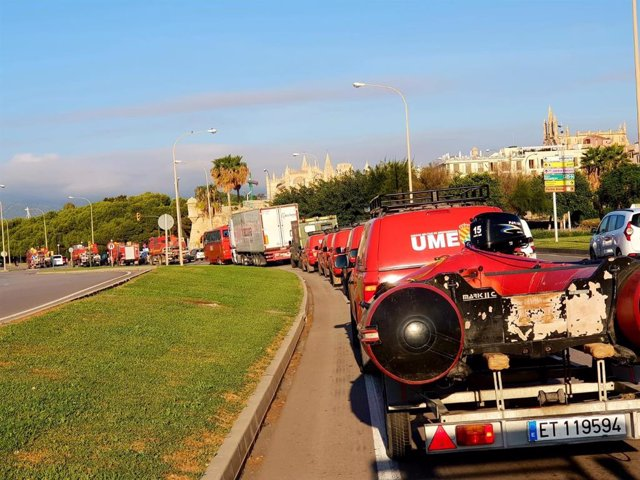 Efectivos de la UME llegando a Palma para intervenir en Sant Llorenç tras las inundaciones de 2018.