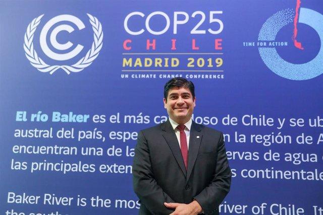 El presidente de la República de Costa Rica, Carlos Alvarado Quesada,  durante la Conferencia de Naciones Unidas sobre el Cambio Climático (COP25), en Madrid (España), a 2 de diciembre de 2019.