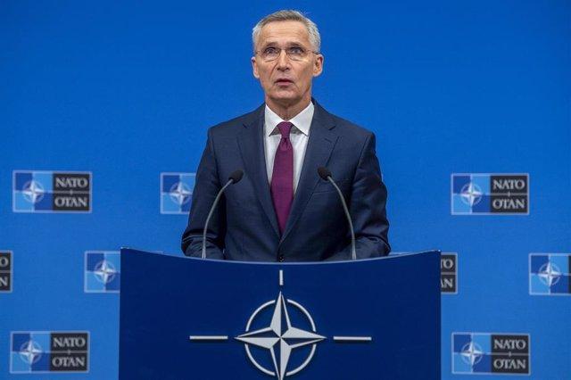 Jens Stoltenberg en la sede de la OTAN en Bruselas