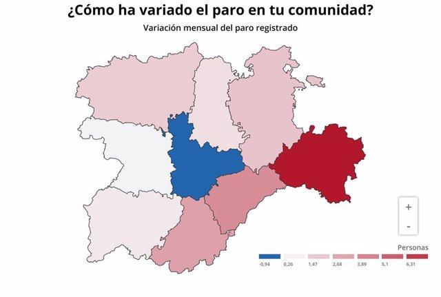 Gráfico de elaboración propia sobre la evolución del paro en noviembre de 2019