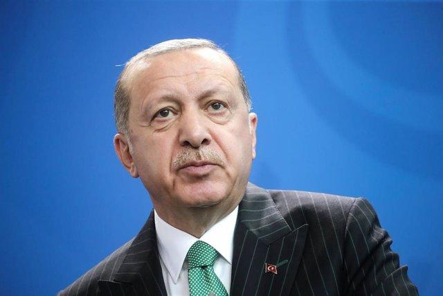 Recep Tayyip Erdogan, en una rueda de prensa en Berlín