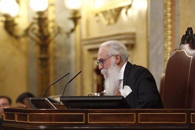 El diputado del PSOE por Burgos, Agustín Zamarrón,  presidente de la Mesa de Edad del Congreso