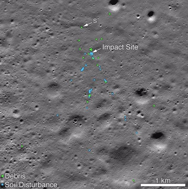 Lugar de impacto de Vikram en la Luna