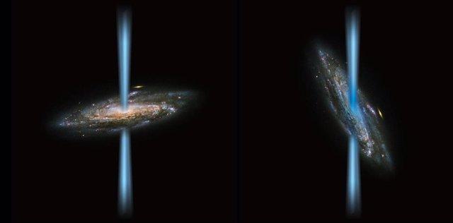Comparativa de chorro de agujero negro perpendicular con otro que incide en su galaxia