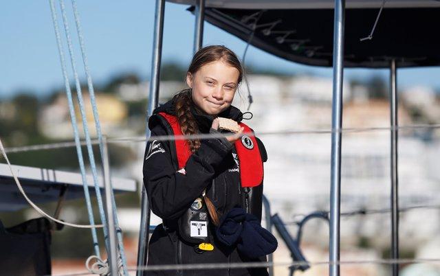 La activista Greta Thunberg llega a Lisboa