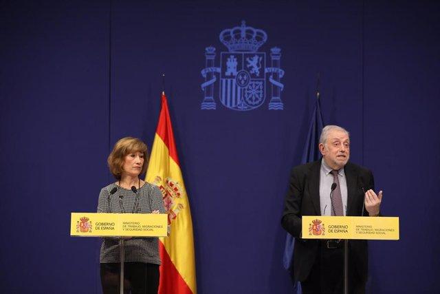 La secretaria de Estado de Empleo, Yolanda Valdeolivas y el secretario de Estado de la Seguridad Social, Octavio Granado, durante la presentación en noviembre de los datos del paro registrado.