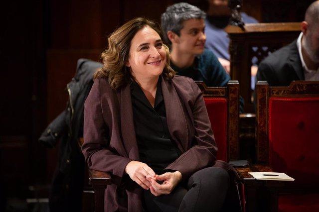 La alcaldesa de Barcelona, Ada Colau, durante el acto de entrega de las Medalles d'Honor de la ciudad de Barcelona, en Barcelona a 26 de noviembre de 2019.