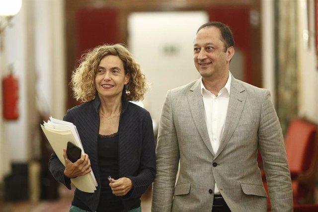 La presidenta del Congreso de los Diputados, Meritxell Batet, y el vicepresidente segundo, Alfonso Rodríguez Gómez de Celis, acuden a una reunión de la Mesa.