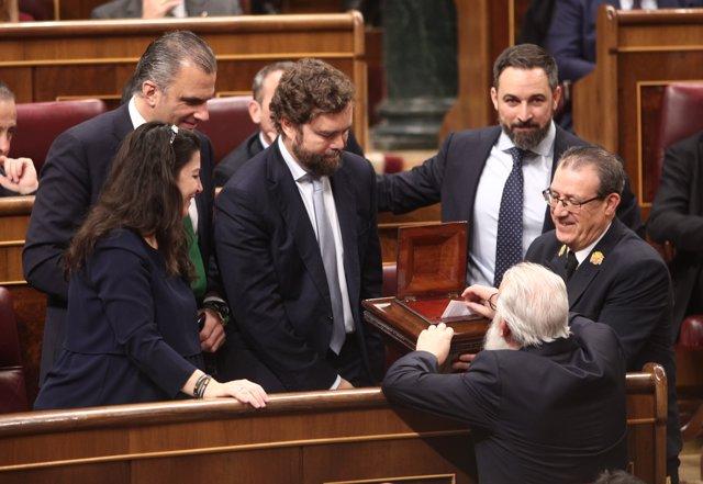 Los diputados de VOX en el Congreso; Macarena Olona (1i); Javier Ortega Smith (2i); Iván Espinosa de los Monteros (3i) y Santiago Abascal (4i), Madrid (España), a 3 de diciembre de 2019.