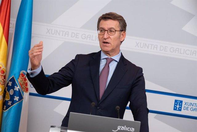 El presidente gallego, Alberto Núñez Feijóo, en la rueda de prensa tras el Consello da Xunta.