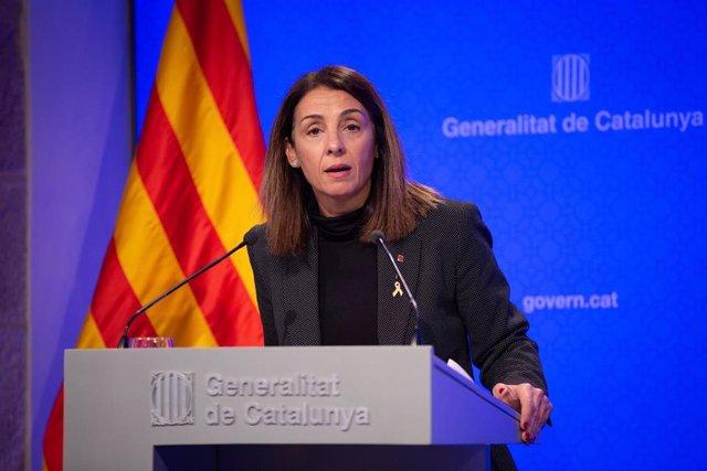 La consellera de Presidencia y portavoz del Govern, Meritxell Budó, en rueda de prensa tras el Consell Executiu del 3 de diciembre.