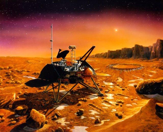 Recreación de la Mars Polar Lander sobre Marte