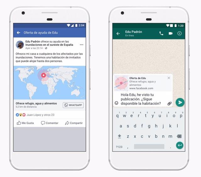 Facebook integra la 'Respuesta ante emergencias' en WhatsApp